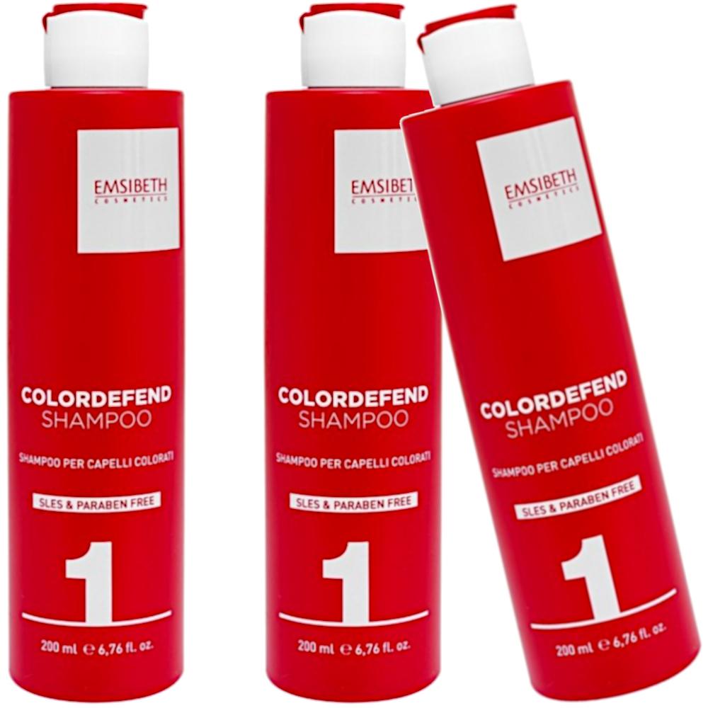 Colordefend Shampoo 1 Capelli Colorati Coloured Hair 3 Pcs Tre Flaconi Da 200ml Emsibeth